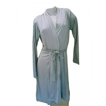 Vestaglia Donna midi in viscosa, grigio perla manica lunga