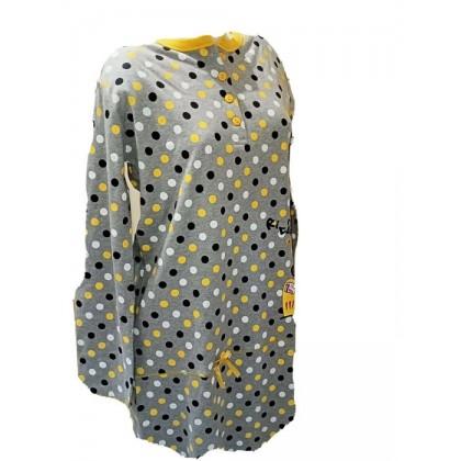 Camicia da notte corta cotone invernale