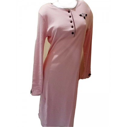Camicia da notte manica lunga cotone caldo, Rosa Pois